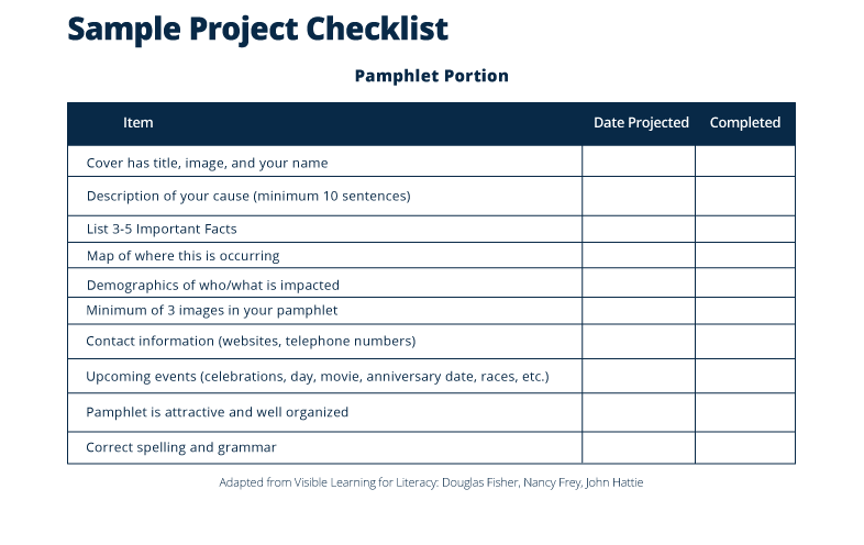 Sample Project Checklist