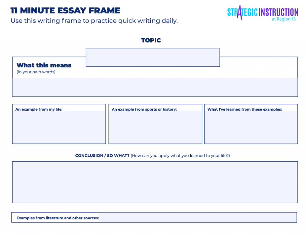 An 11-Minute Writing Frame available for download