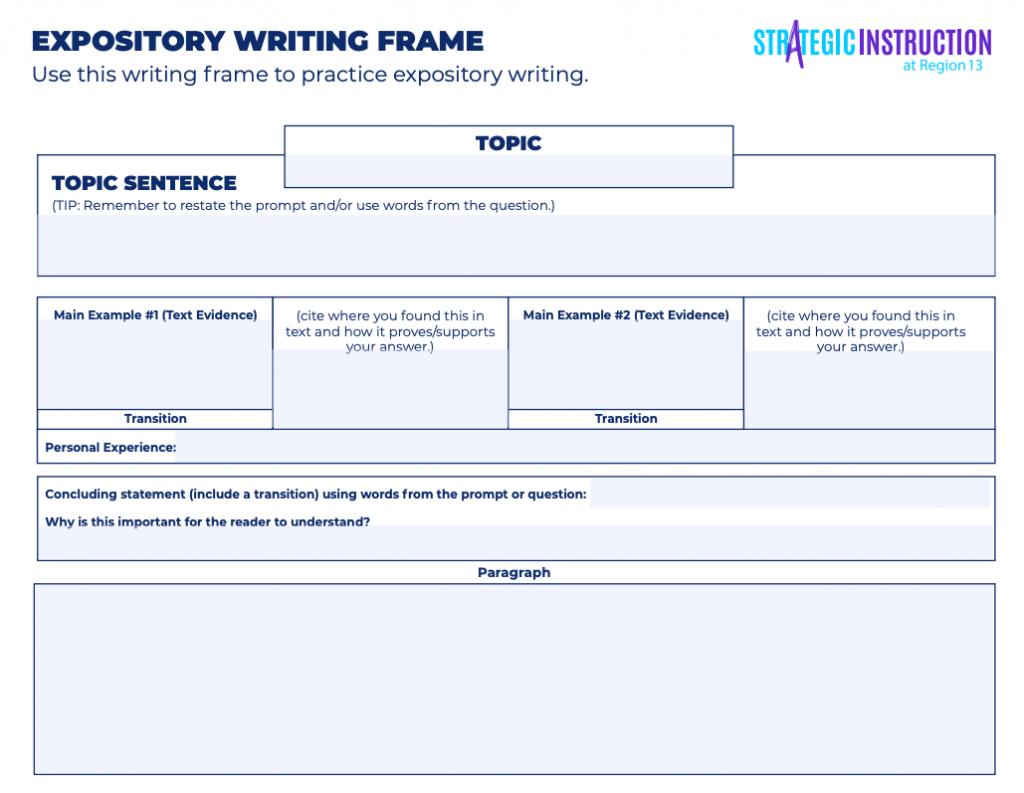An Expository Writing Frame available for download.