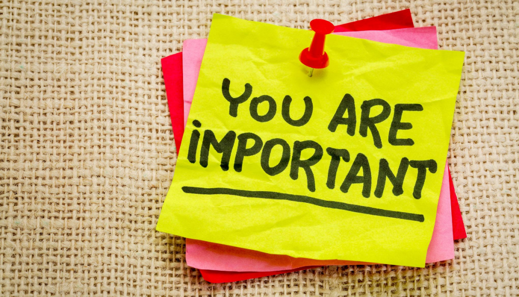 "Sticky note with the words, ""You are important."""