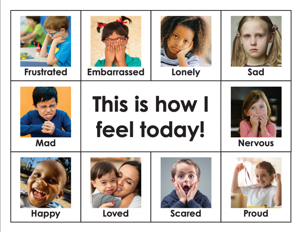 Chart with kids showing different emotions.