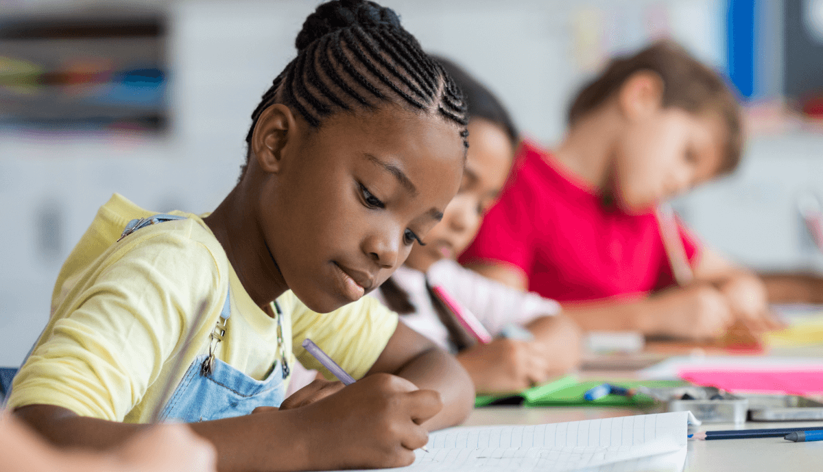 Student taking an assessment.